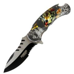 """Defender-Xtreme 8.5"""" Angry Wolf Spring Assisted Folding Knife Stainless Bottle Opener"""