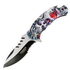 "Defender-Xtreme 8.5"" Muerte Spring Assisted Folding Knife Stainless Bottle Opener"