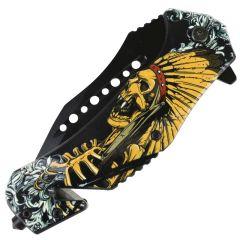 "Defender-Xtreme 8.5"" Glass Breaker Skull Indian Spring Assisted Folding Knife"