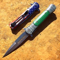 "8.5"" Spring Assisted Folding Knife Rescue Stainless Steel Unique Art Handle Green"