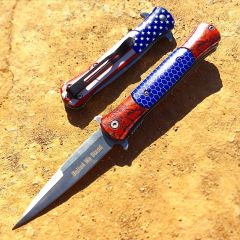 "8.5"" Spring Assisted Folding Knife Rescue Stainless Steel Unique Art Handle Blue"