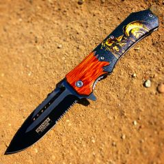 "Defender-Xtreme 8.5"" Motorcycle Wood Color Handle Spring Assisted Folding Knife"