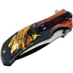 """Defender-Xtreme 8.5"""" Bald Eagle Wood Color Handle Spring Assisted Folding Knife"""