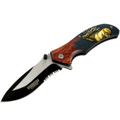 "Defender-Xtreme 8.5"" Elk Wood Handle Spring Assisted Folding Knife Tactical Sharp"