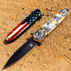 """TheBoneEdge 8"""" Wolf Spring Assisted Folding Knife Tactical Rescue Sharp Knives"""