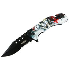 """Defender-Xtreme 8"""" Knight In Armor Spring Assisted Folding Knife Glass Breaker"""