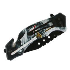 "Defender-Xtreme 8""Knight & Sword Spring Assisted Folding Knife Glass Breaker"