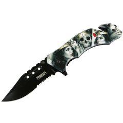 "Defender-Xtreme 8"" Aces Skull Spring Assisted Folding Knife Glass Breaker Rescue"