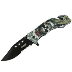 """Defender-Xtreme 8"""" Skull Chief Spring Assisted Folding Knife Glass Breaker Rescue"""