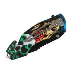 "Defender-Xtreme 8"" Rose Skull Woman Spring Assisted Folding Knife Belt Cutter New"