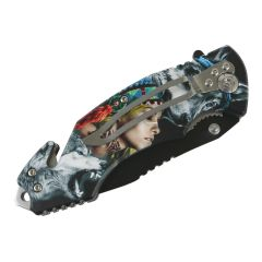 """Defender-Xtreme 8"""" Wolf Woman Spring Assisted Folding Knife Tactical Belt Cutter"""