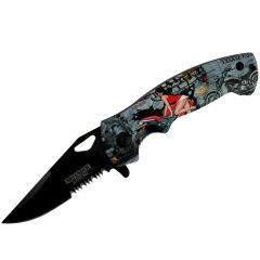 "Defender-Xtreme 7.5"" Motorcycle Lady pring Assisted Folding Knife Tactical Sharp"