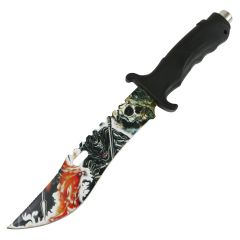 """Defender 13"""" Tactical Hunting Knife Rubber Handle Reaper Art Blade Outdoor Camping"""