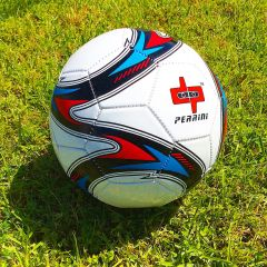 Perrini Soccer Ball Size Red White Blue & Gold Trim Outdoor Sports Official 5
