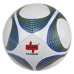 Perrini Soccer Ball Size White & Yellow Dotted Trim Outdoor Sports Official 5