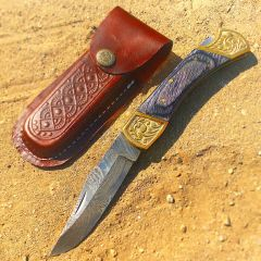 "TheBoneEdge 9"" Hand Made Damascus Blade Folding Knife Pakkawood Handle Black New"