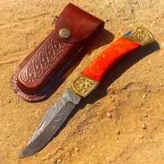 """TheBoneEdge 9"""" Hand Made Damascus Blade Folding Knife Pakkawood Handle Orange"""
