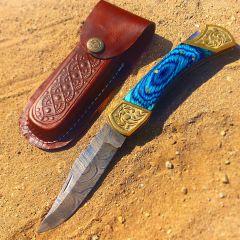 "TheBoneEdge 9"" Hand Made Damascus Blade Folding Knife Pakkawood Handle Blue New"