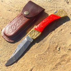 "TheBoneEdge 9"" Hand Made Damascus Blade Folding Knife Pakkawood Handle Red New"