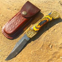 """TheBoneEdge 9"""" Hand Made Damascus Blade Folding Knife Pakkawood Handle Burnt Finish"""