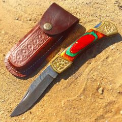 "TheBoneEdge 9"" Hand Made Damascus Blade Folding Knife Pakkawood Handle Multi Color"