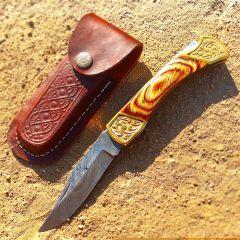"TheBoneEdge 9"" Hand Made Damascus Blade Folding Knife Pakkawood Handle Brown New"