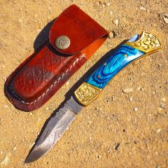 "TheBoneEdge 7"" Hand Made Damascus Blade Folding Knife Pakkawood Handle Blue New"