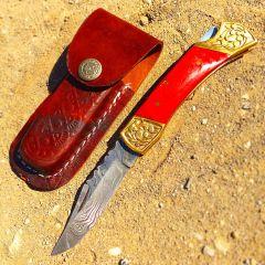 "TheBoneEdge 7"" Hand Made Damascus Blade Folding Knife Pakkawood Handle Red New"