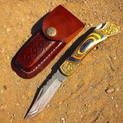 """TheBoneEdge 7"""" Hand Made Damascus Blade Folding Knife Pakkawood Handle Burnt Finish"""