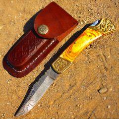 "TheBoneEdge 7"" Hand Made Damascus Blade Folding Knife Pakkawood Handle Yellow"
