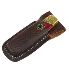 "TheBoneEdge 7"" Hand Made Damascus Blade Folding Knife Pakkawood Handle Dark Red"
