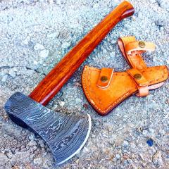 """TheBoneEdge 19"""" Custom Handmade Damascus Steel Throwing Axe Hatchet Wood Handle"""