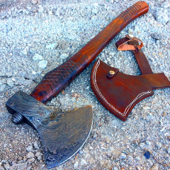 """TheBoneEdge 22.5"""" Custom Handmade Damascus Steel Throwing Axe Hatchet Wood Handle"""