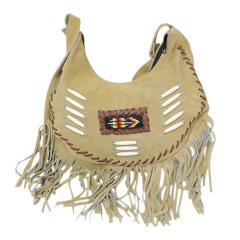 Perrini Beige Fringed Cross Body Purse Fringe Boho Leather Bag Crossbody Handbag