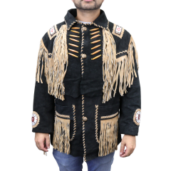 Perrini Native American Leather Jacket Cowboy Coat With Fringe & Beads Black New