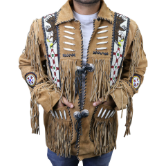 Perrini Native American Leather Jacket Cowboy Coat With Fringe & Beads Beige New
