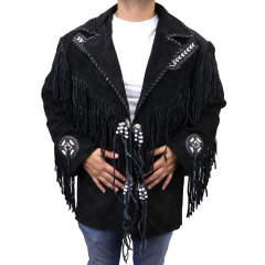 Perrini Native American Leather Jacket Cowboy Coat With Fringe & Beads Black