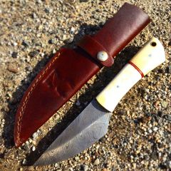 "TheBoneEdge 7.5"" Hunting Knife Damascus Steel Pearl Handle Hand Made Knives New"