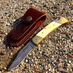 "TheBoneEdge 7"" Hunting Folding Knife Damascus Steel Pearl Handle Hand Made New"