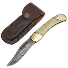 "TheBoneEdge 9"" Hunting Folding Knife Damascus Steel Pearl Handle Hand Made New"