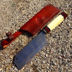 """TheBoneEdge 12"""" Kitchen Chef Knife Full Tang Damascus Steel Hand Made With Sheath"""
