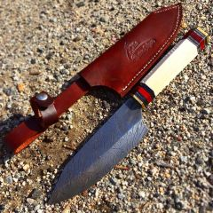 "TheBoneEdge 11"" Kitchen Chef Knife Full Tang Damascus Steel Hand Made With Sheath"
