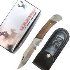 "TheBoneEdge 9"" Folding Knife Wood Handle Stainless Steel Blade Leather Sheath"