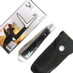 """TheBoneEdge 7"""" Folding Knife Bottle Opener 2 in 1 Accessory Tool Nylon Sheath Black"""