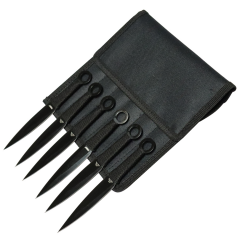 """Defender-Xtreme 6.5"""" All Black Throwing Knives Set of 6"""