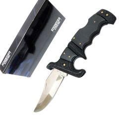 "Defender-Xtreme 8.75"" Folding Knife All Black Handle Stainless Steel With Belt Clip"