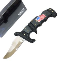 "Defender-Xtreme 8.75"" Folding Knife USA Flag Handle Stainless Steel With Belt Clip"