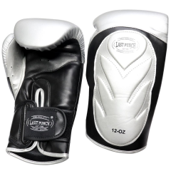 Last Punch Pro Style Training Sparring Boxing Gloves - Silver & Black 12 Oz