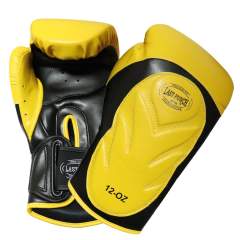 Last Punch Pro Style Training Sparring Boxing Gloves - Yellow & Black 12 Oz