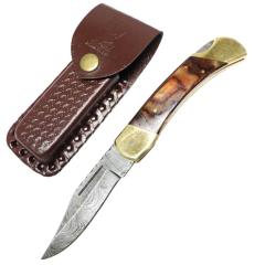 "TheBoneEdge 9"" Hunting Folding Knife Damascus Steel Brown Wood Handle Hand Made New"